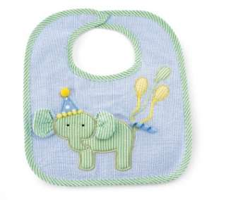 Mud Pie Party Time Birthday Boy Baby Elephant Balloons Applique Bib