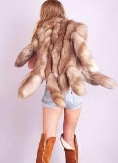 Vtg 70s ARCTIC FOX FUR Draped Gilet FRINGE SWIRL TAILS Vest Jacket