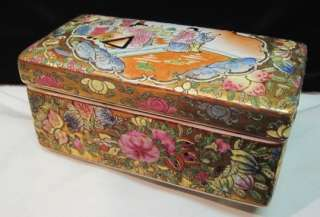 CHINESE EXPORT ROSE MEDALLION SCHOLARS COVERED BOX~GOLD~BUTTERFLY