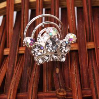 Elegant Lady Women Rhinestone Hair Twists Spins Pins clips hairpins
