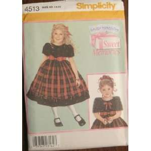 PATTERN 4513 CHLDS DRESS AND CAPELET SIZE AA 3 6