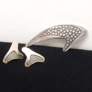 Sigi Pineda Retro Boomerang Set Pin Brooch Earrings Sterling Silver