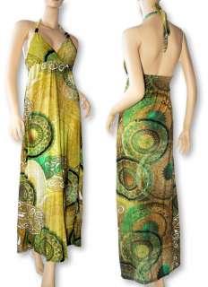 NEW WOMEN HIPPIE HALTER BEACH LONG MAXI DRESS S/M US SZ 6 8 10