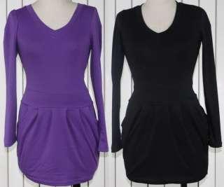 Casual Long Sleeve Cotton Crew Neck Tops T Shirt Mini Dress