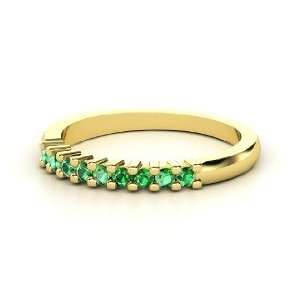 Slim Nine Gem Band Ring, 14K Yellow Gold Ring with Emerald
