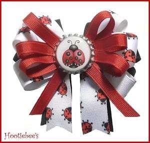 Adorable Ladybug Big Boutique Bottlecap Hair Bow