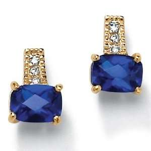 PalmBeach Jewelry Synthetic Blue Sapphire Gold plated