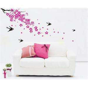 WALL VINYL DECO STICKER SWALLOWS & TREE romantic decal