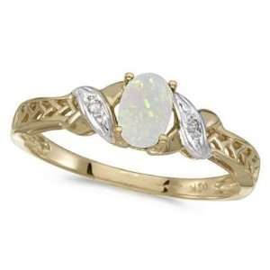 Opal and Diamond Antique Style Ring in 14K Yellow Gold (0