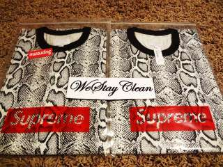 SUPREME SNAKESKIN TEE SHIRT nuptse schott leather supreme jacket box