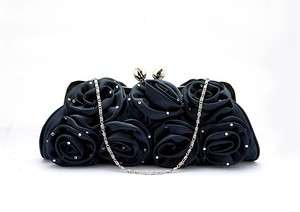 Navy Blue Satin Roses with Rhinestones Wedding/Bridal Clutch Purse Bag