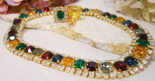 Vintage Multi Color Rhinestone Formal Necklace Clip Earrings Exc
