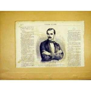 Portrait Gabriel Morena President French Print 1865 Home