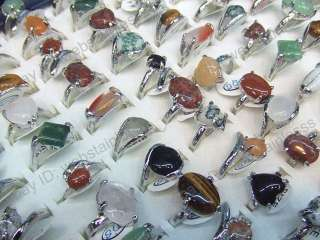 wholesale jewelry lots 5pcs Natural Stone platinum P rings mixed size