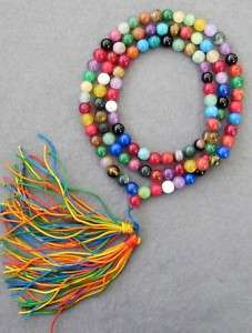 8mm Tibet Buddhist 108 Jade Prayer Beads Mala Necklace