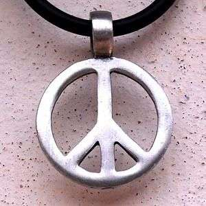 Peace sign Silver Pewter Pendant w PVC Choker Necklace