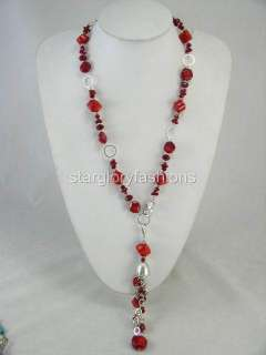 Charming Nature Red Coral Pandent Long Necklace Two Use