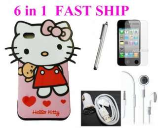 HELLO KITTY SOFT CASE BUNDLE COVER HEADPHONE CAR CHARGER FOR APPLE