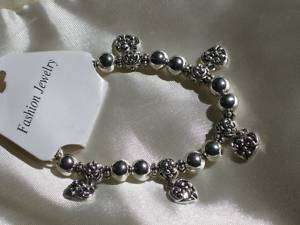 HEART Silver DANGLE bracelet Stretch BEADS New HOSTESS