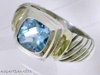 David Yurman Blue Topaz Medium Albion Ring Sterling silver 14k