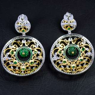 14k Pure Gold Natural Top Green Emerald Diamond Vintage Ladies