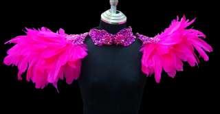Feather Showgirl Drag Queen Cabaret Burlesque Costume Sequin Shoulder