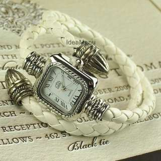 Cable Leather Braided Wrap Around Ladies Bracelet Watch