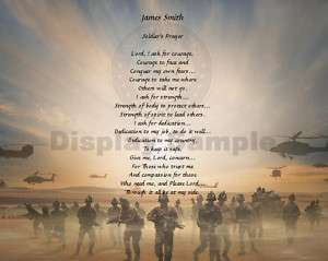 Soldiers Prayer Daughter Son Gift Personalized Poem
