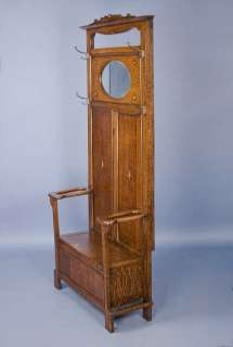 English Antique Oak Seated Hall Stand Hall Tree Coat Rack Hallstand