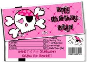 Pirate Pink Skull Girl Candy Bar Wrappers Party Favors