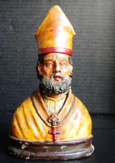 ANTIQUE CATHOLIC STATUE ST NICOLAS NICHOLAS BARI |