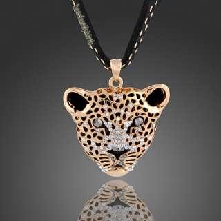 18K gold Gp Swarovski Crystal fashion Tiger long necklace N10