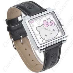 Hello Kitty Square Face Watch with Black Band + Free Heart