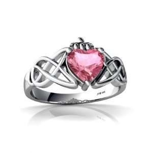 Gold Heart Created Pink Sapphire Celtic Claddagh Knot Ring Size 6.5