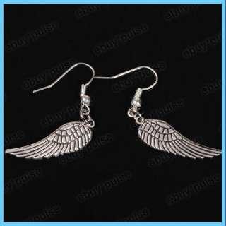 Ladies Angel Wing Tibetan Silver Hook Dangle Earrings Nickel Free