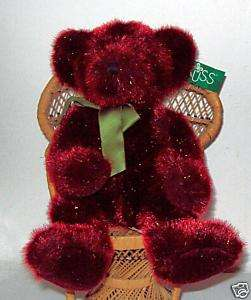 Russ Berrie Festive Gatherings Plush Red Bear Spangles