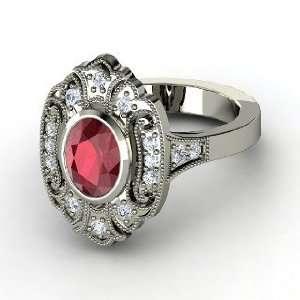 Chamonix Ring, Oval Ruby Platinum Ring with Diamond