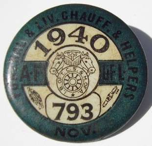 1940 Funeral & Livery Chauffers Pinback Button Pin