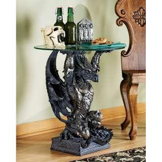 24 Gothic Medieval Armor Gargoyle Dragon Glass topped Sculptural