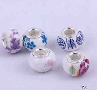 multicolor design big hole colored ceramic beads FIT European Charm