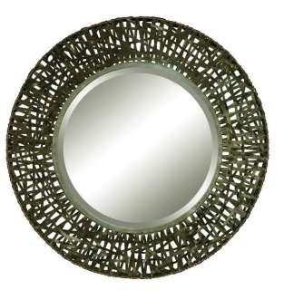 MODERN Lattice Woven Metal Round WALL MIRROR Black 37 Contemporary