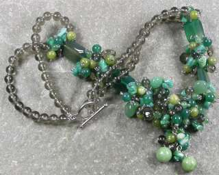 GREEN AGATE & OLIVE JADE & RUSSIAN ITE NECKLACE