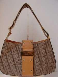 Christian Dior Beige Canvas/Leather Logo Bag/Purse