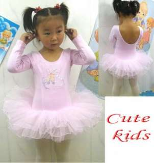 Leotard Ballet Tutu Costume Long Sleeve Dance Skate Dress 3 8Y