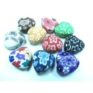 10 Fimo Polymer Clay Heart Beads 20mm Assorted Colors