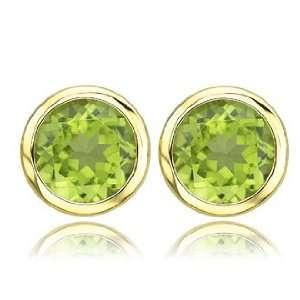 Green Peridot August Gemstone 14k Yellow Gold Stud Earrings Jewelry