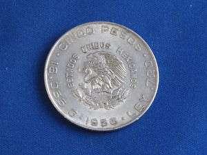 1956 MEXICO 5 CINCO PESOS .720 SILVER B4577