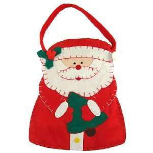 Club Pack of 96 Fabric Santa Claus with Christmas Tree Gift Bags 10.5