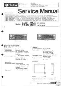 Clarion Original Service Manual f. CAR E 951/950 MK II
