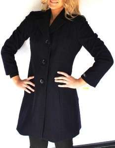 New Womens Anne Klein Wool Cashmere Coat Pea coat Single Breasted Deep